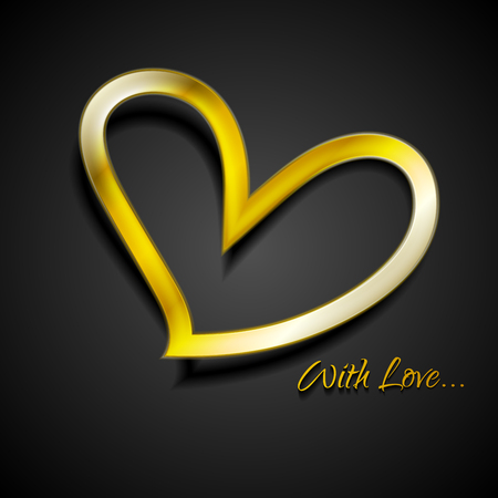 golden heart: Valentine Day background with golden heart. Vector dark gold heart shape illustration Illustration