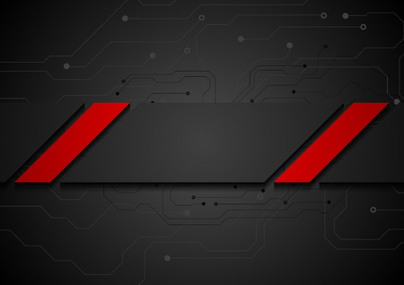 red and black: Contrast red black tech corporate background with circuit board drawing. Technology abstract vector design