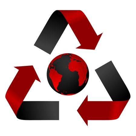 threat: Abstract pollution threat, red and black recycle and globe. Vector background