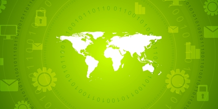 green technology: Global communication green tech abstract design. Bright technology vector background with world map, binary code and communication icons
