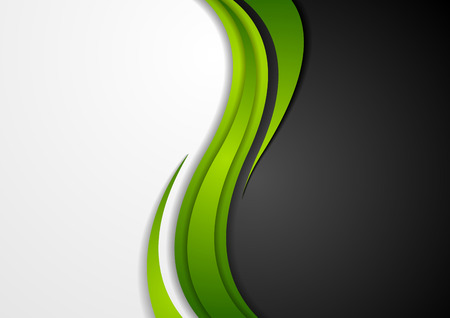 Abstract green black grey wavy background. Modern elegant waves vector graphic design