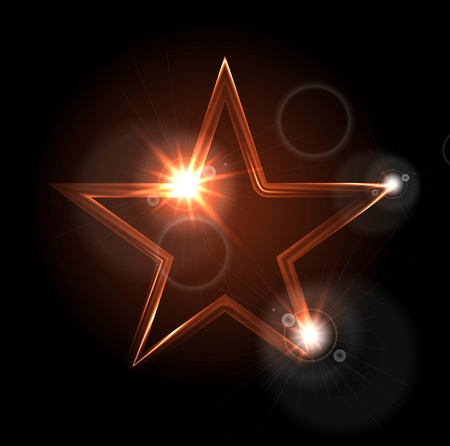 glowing star: Glowing glossy star shape on black background. Vector design Illustration