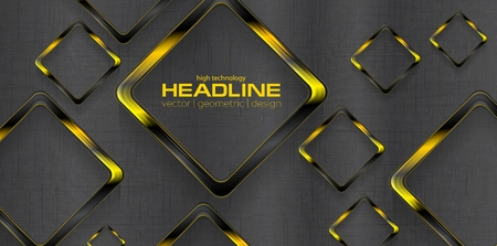 amarillo y negro: Negro cuadrados amarillos contraste tecnología de diseño de fondo Vectores