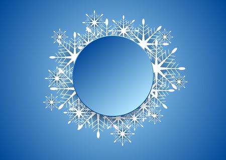 christmas snowflakes: Blue modern Christmas snowflakes background with blank circle Illustration