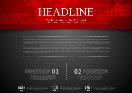 Czarne tÅ,o abstrakcyjna z czerwonym tech z nagłówka kwadraty i mapę. Projekt technologiczny