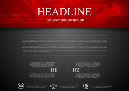 Black abstract background with red tech header with squares and map. Technology design