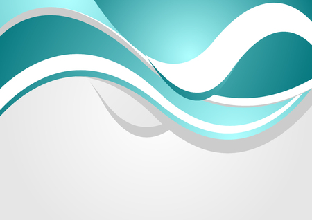 Abstract bright corporate waves background. Turquoise vector graphic design Vector Illustration