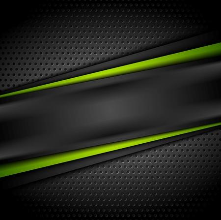 cromo: Extracto oscuro fondo de tecnología de contraste de color verde. ilustración vectorial perforada Vectores
