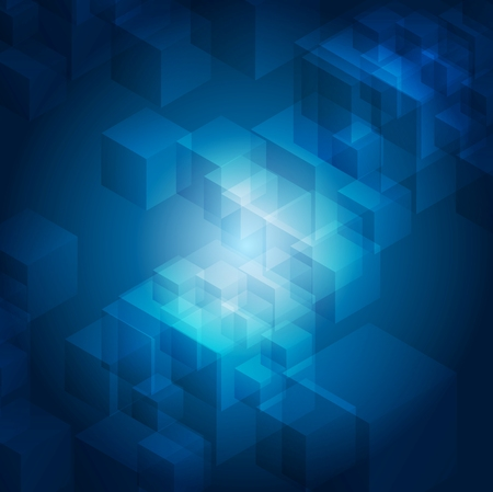 blue gradient: Blue abstract tech geometric background. Cubes vector design