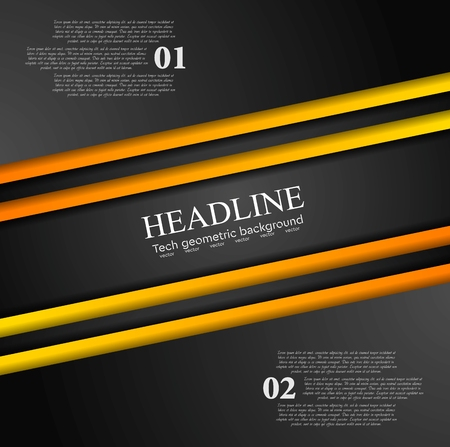 orange abstract: Abstract contrast orange black tech background. Corporate vector design Illustration
