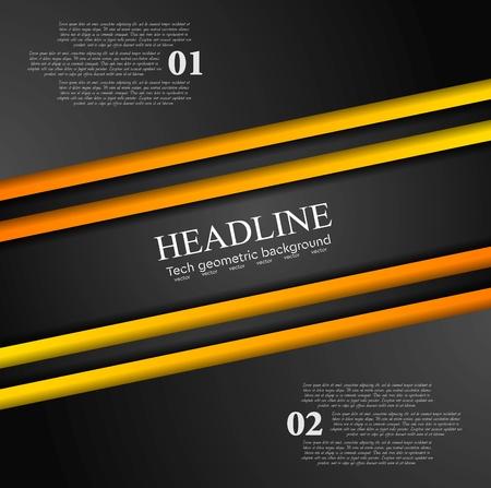 Contexte de contraste abstrait noir tech orange. Conception de vecteur d'entreprise
