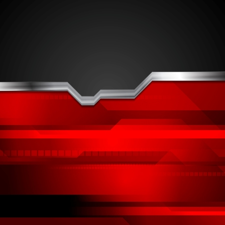 Red and black tech metallic style background. Silver geometric vector design Vettoriali