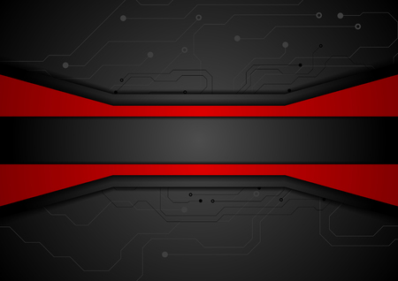black and red: Contrast red black tech abstract background with circuit board drawing. Technology concept vector design