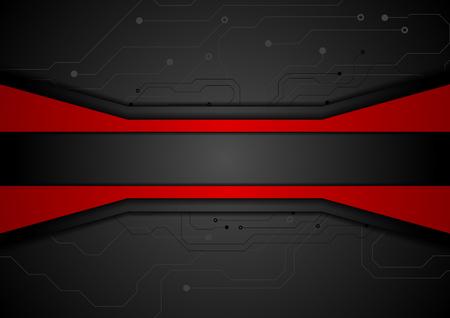 Contrast rood zwart-tech abstracte achtergrond met printplaat tekening. Technologisch concept vector design Vector Illustratie