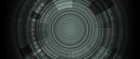 shiny black: Dark HUD gears abstract tech background. Vector design illustration