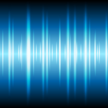 Blue glowing tech waveform equalizer stripes background. Abstract tech vector design
