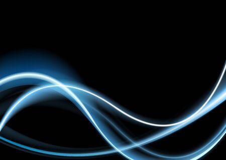 Blue glowing retro neon waves background. Vector smooth wavy graphic design Vectores