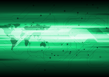 green technology: Dark green abstract technology circuit board background. Vector geometric design with dotted world map