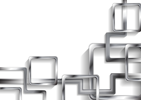 Tech zilver metallic abstracte achtergrond met vierkanten. Vector ontwerp