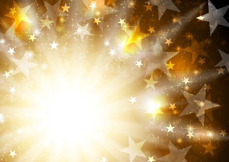 lucero: Fondo brillante de oro de color naranja con estrellas y vigas. celebración de vectores de diseño gráfico brillante Vectores