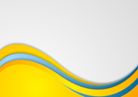 Blue and yellow corporate wavy background. Bright abstract vector design