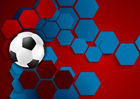 Abstract geometric football background with soccer ball. Vector design