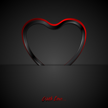valentine day: Contrast red black glossy heart love design. Vector background Valentine Day