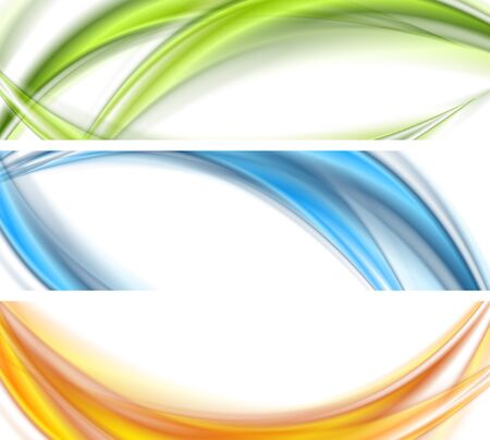vector banners or headers: Abstract shiny bright wavy banners design. Vector waves headers background