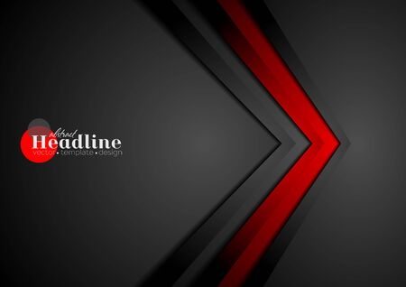contrast: Red and black contrast tech arrows background. Vector corporate design