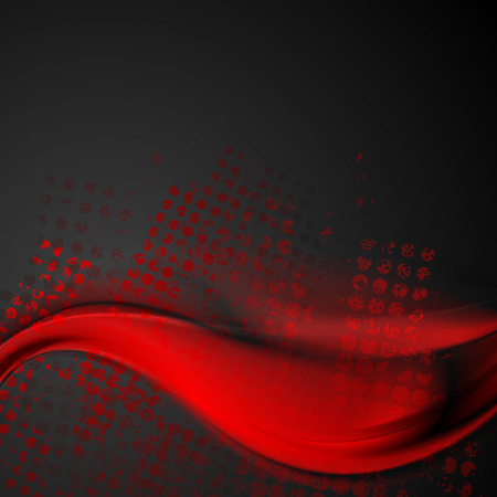 black grunge background: Abstract bright red and black wavy grunge vector background