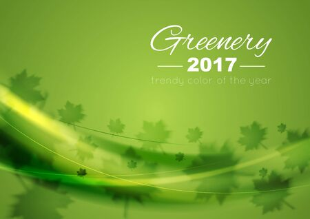 greenery: Color of the year 2017 Greenery abstract background. Vector waves and summer leaves graphic design Illustration