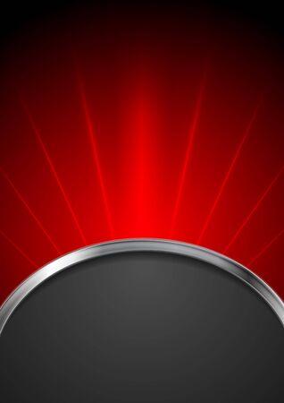 fondo rojo: Resumen rojo haz diseño con onda de plata y fondo negro. Ilustración del vector del arte de la tecnología que brilla intensamente