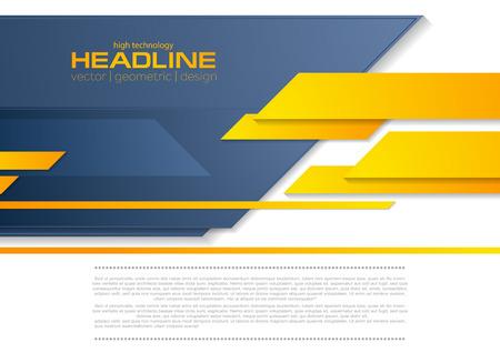 Blue orange tech business brochure corporate background. Vector template design Vettoriali