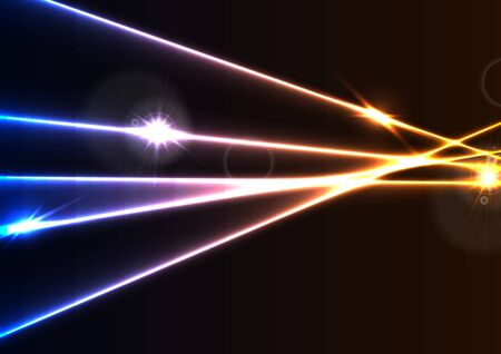 light ray: Abstract glowing neon laser rays effect graphic design. Colorful luminous vector background Illustration