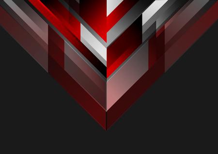 Fondo geométrico negro rojo geométrico de la tecnología. Vector de diseño oscuro corporativo