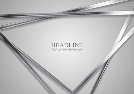 Fond d'écran Tech Triangles abstraits. Rayures en métal argenté sur fond gris. Illustration vectorielle hi-tech Vecteurs