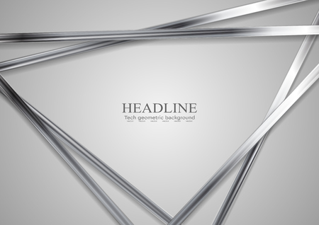Tech metallic abstract triangles background. Silver metal stripes on grey backdrop. Hi-tech vector illustration