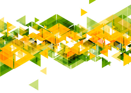 Orange green triangles abstract geometrical design. Vector bright background