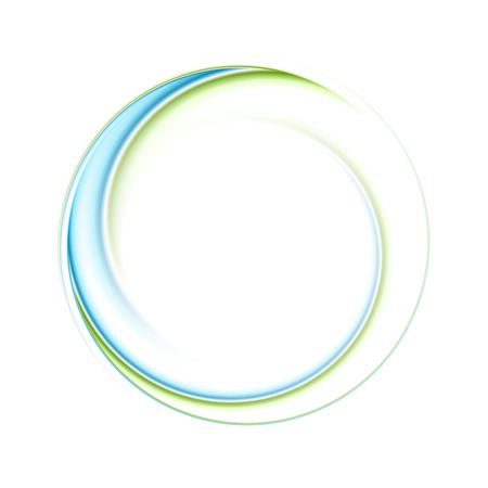 Abstract bright blue green iridescent circle logo. Vector graphic background
