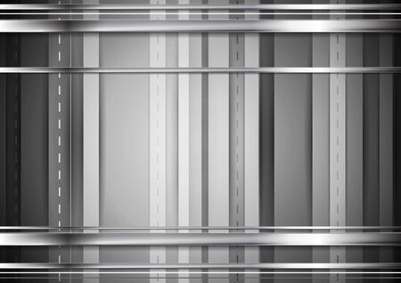 metal monochrome: Grey tech background with silver metal stripes. Vector monochrome graphic design Illustration
