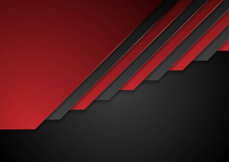 Red and black corporate stripes background. Vector design