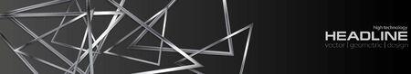 Dark technology web header metallic design. Vector silver banner template