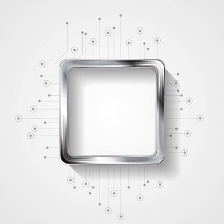 metallic background: Abstract technology background with circuit board and silver square. Vector sci-fi metallic illustration layout