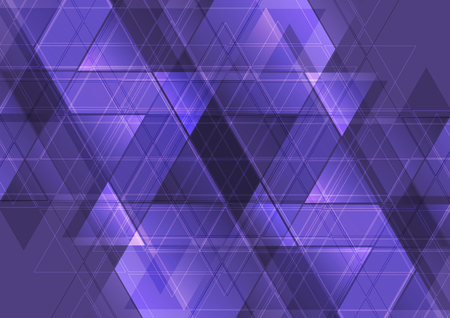 Purple abstract tech triangles mosaic pattern design. Technology corporate polygonal vector background