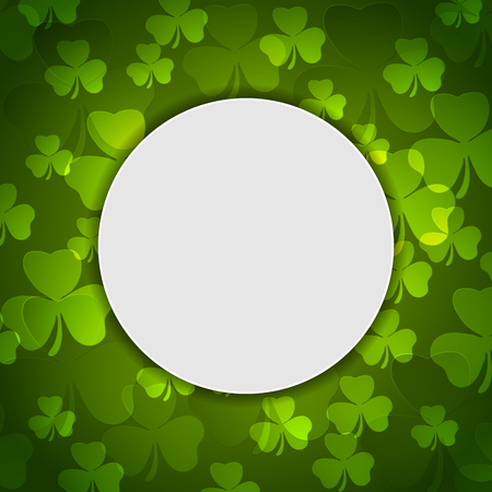 Green shamrock clovers and blank circle background. St. Patrick Day vector design Illustration