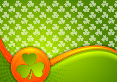 clover leaf shape: St. Patrick Day abstract waves vector background with Irish flag colors