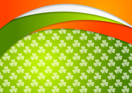 St. Patrick Day abstract vector background with Irish flag colors Illustration