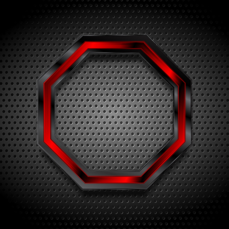 metallic texture: Black and red octagon on perforated metallic texture.