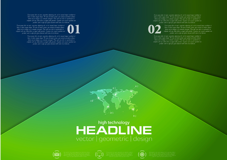 Green and blue corporate abstract brochure design. Vector background