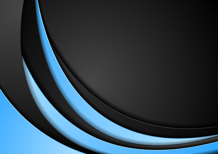 Abstract contrast blue and black wavy corporate vector background Vectores